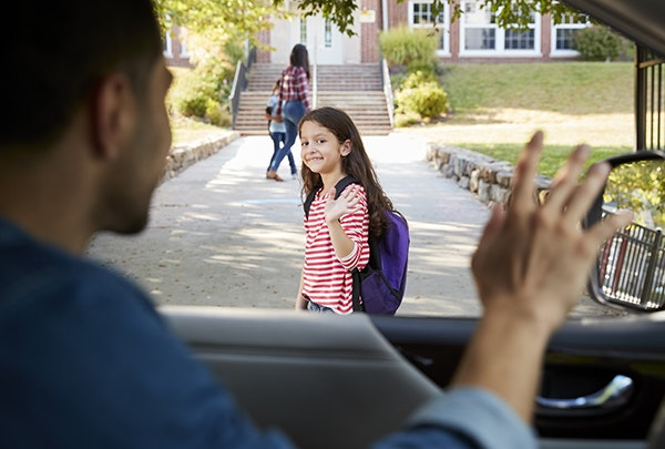 Licensed undocumented father In New York Dropping Off Daughter In Front Of School Gates